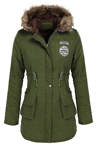 Minetom Femme Automne Hiver Manteau Parkas à Capuche Longue Chaud Fourrure avec Capuche Rembourrée Veste Coat Outerwear Vert FR 44