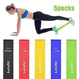 Letsfit Fitnessbänder 5er Set Widerstandsbänder Trainingsbänder 5-Stärken Ideal für Fitnessübungen Wie Pilates, Yoga, Gymnastik, Crossfit, Fitnesskurse und Dehnungsübungen MEHRWEG