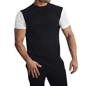 Herren Shirt,Casual Rundhals Patchwork Slim Fit T Short Sleeve Tee T-Shirt Atmungsaktiv Sportswear Tanktop Kurzarmshirt Unterhemd Achselshirt Sweatshirt Hoodie für Männer
