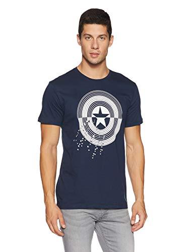 Free Authority Men's Printed Regular Fit T-Shirt (AV0GMT1410!_Navy!_M)