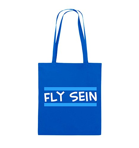Comedy Bags - Fly sein - Jutebeutel - lange Henkel - 38x42cm - Farbe: Schwarz / Weiss-Neongrün Royalblau / Weiss-Hellblau
