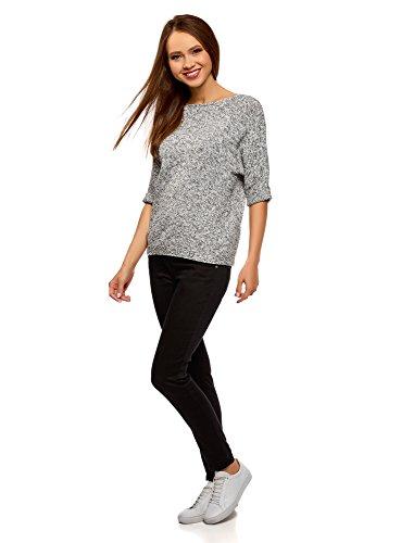 oodji Ultra Damen Lässiger Pullover mit Breitem Ausschnitt Weiß (1229M)
