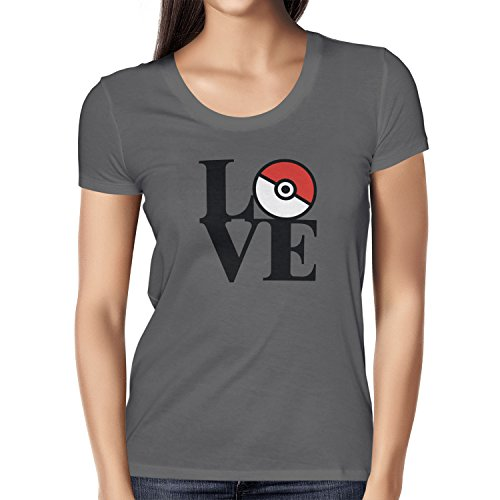 TEXLAB - Poke Love - Damen T-Shirt Grau