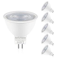 MR16 GU5.3 LED Lampe,Defurhome 5W Ersatz für 50W Halogenlampen, 450LM, Warmweiß,AC/DC 12V, mit GU5.3-Sockel,LED Spot, LED-Reflektorlampe, LED Leuchtmittel, Nicht Dimmbar,5er-Pack