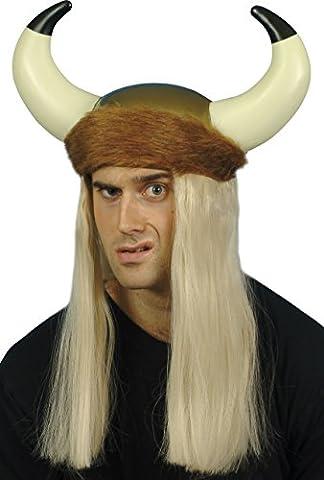 Smiffy's Viking Helmet with Long Blonde Hair, Horns and Fur Trim