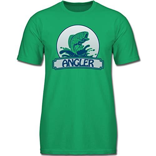 Sport Kind - Angler Button - 140 (9-11 Jahre) - Grün - F130K - Jungen Kinder T-Shirt