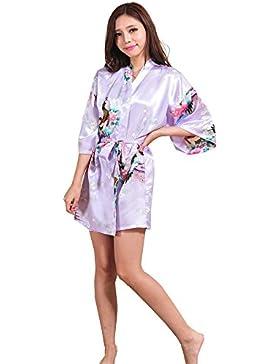 GL&G Abito da sposa Kimono di raso delle donne di seta Accappatoio corto Pigiami confortevoli Accappatoio allentato...