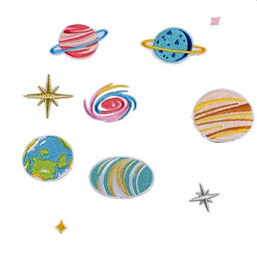zhouba 16Stickerei Sterne Universum Planet Sew Eisen auf Patch Hat Jeans DIY Aufnäher, multi, Multisize Applique Hat