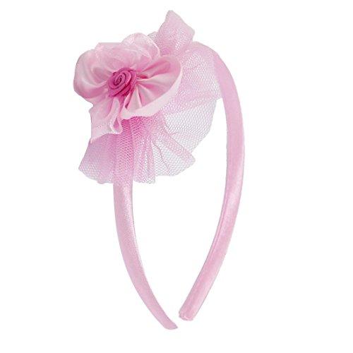 Girl Pink Ribbon Wrapped Plastic Blumen-Akzent-Haar-Dekoration-Haar-Band- (Blumen Ribbon)