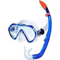 AQUAZON Korfu Hochwertiges Schnorchelset, Tauchset, Schwimmset, Schnorchelbrille mit Tempered Glas, Schnorchel mit semi Dry top für Kinder, Jugendliche Von 7-14 Jahren