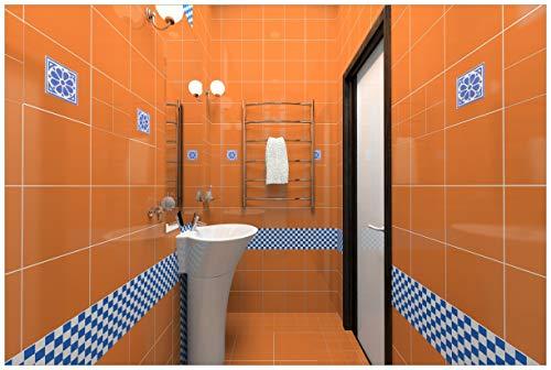 Wallario Acrylglasbild Modernes Badezimmer in orange mit blauen Fliesen - 60 x 90 cm in Premium-Qualität: Brillante Farben, freischwebende Optik