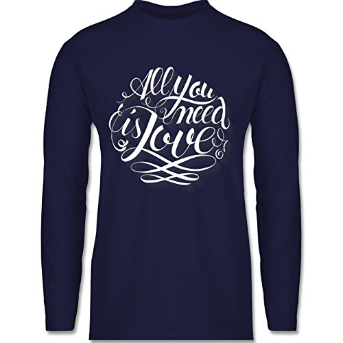 Shirtracer Statement Shirts - All You Need is Love Lettering - Herren Langarmshirt Navy Blau