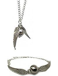 166e2aba4182 Set de collar y pulsera Chamber37 retro con diseño de alas de ángel y perla  de