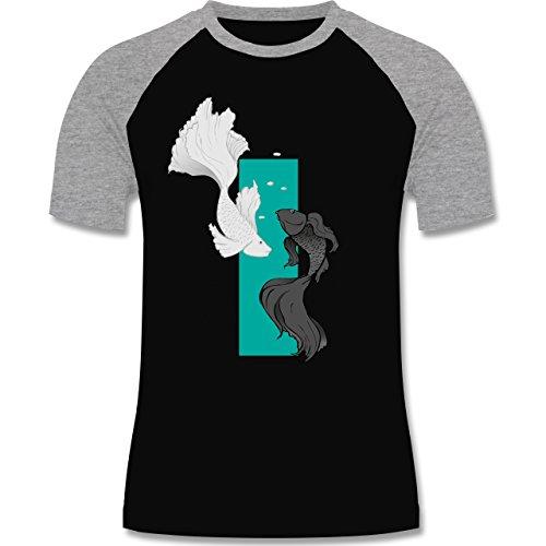 Sonstige Tiere - Fische Yin und Yang - zweifarbiges Baseballshirt für Männer Schwarz/Grau Meliert