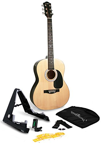 martin-smith-w-101-pk-full-size-acoustic-guitar-with-guitar-stand-tuner-gig-bag-strap-plecs-and-stri