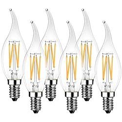LVWIT Bombillas Vela de Filamento Flame LED E14 (Casquillo Fino) - 4W equivalente a 40W, 470 lúmenes, Color blanco cálido 2700K. Bombilla retro vintage, No regulable - Pack de 6 Unidades.