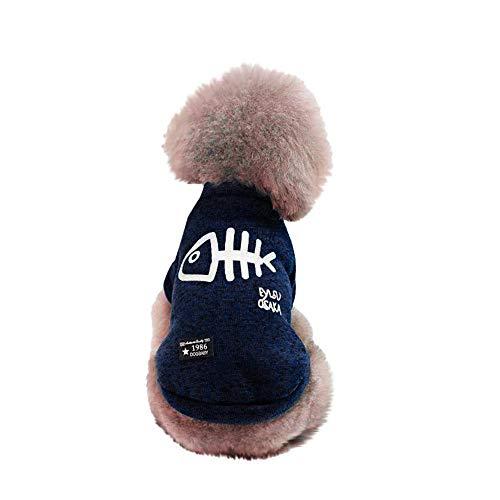 XXYsm Hunde Pullover Winter Hundebekleidung Haustie Hundekatze Kleidungs Winter warme Strickjacke Mantel Kostüm Kleid Blau XL/Büste: 47 ()