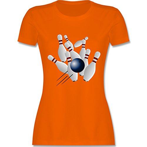 Bowling & Kegeln - Bowling Strike Pins Ball - tailliertes Premium T-Shirt mit Rundhalsausschnitt für Damen Orange
