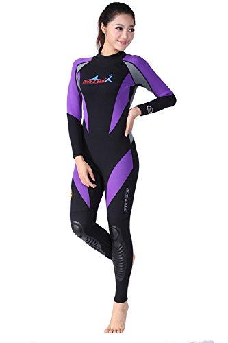 HYSENM Damen Neoprenanzug Tauchanzug Skins Nassanzug langarm Rückenreißverschluss 1,5mm UV-Schutz einteilig, M