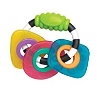 Playgro Teething And Grip Ring Trio, From 3 Months, Textured Teething Rattle, Multicoloured, 40131