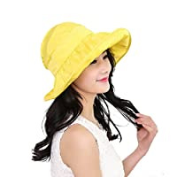 Tinksky Wide Large Brim Sun Hat Sombrero delgado de la protección ULTRAVIOLETA del verano 2 en 1 sombrero de Sun de la playa, regalo o regalo del día de madre para las mujeres (amarillo claro)