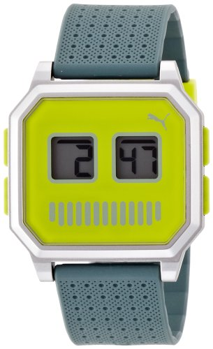 Puma Wrist Robots Unisex Digital Watch with Green Dial Digital Display and Green PU Strap PU910951014