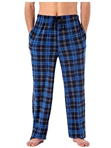 i-Smalls Herren klassisches Kariertes Polar Fleece Lounge Wear Schlafanzug Hosen-Hose Nachtwäsche Nachtwäsche Gr. XX-Large, Blue Checked