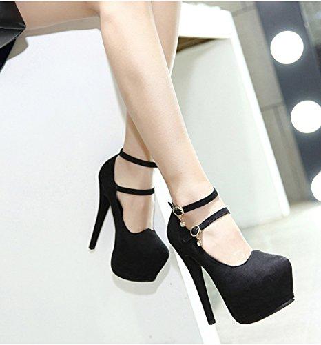 Scothen Heels Ladies cheville Strap Plateau Pompes en daim avec boucle fermé 10cm talon chaussures de soirée élégante Femmes Mode Stiletto Sexy Heels Platform Pumps Chaussures de mariage Noir