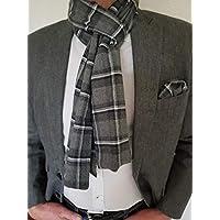 Exklusiver Herren Schal mit passendem Einstecktuch in Grau Kariert, Flanell-Baumwolle, Schönes Weihnachtsgeschenk