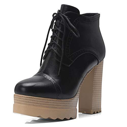 MYXUA Damenstiefel Winter Plateau-Stiefeletten High Heel Schnürstiefel Schuhe,Black-33