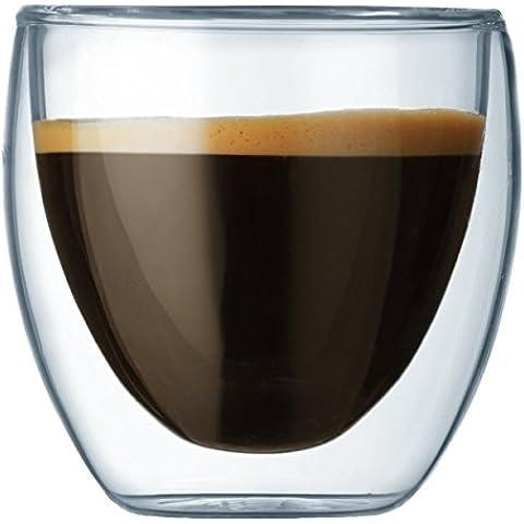 Bodum 4557-10 Pavina - Tazas de café de cristal (0,08 l, 2 unidades)