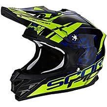 Scorpion Casco Moto VX-15 EVO AIR Kistune, Black/Blue/Neon Yellow, XL