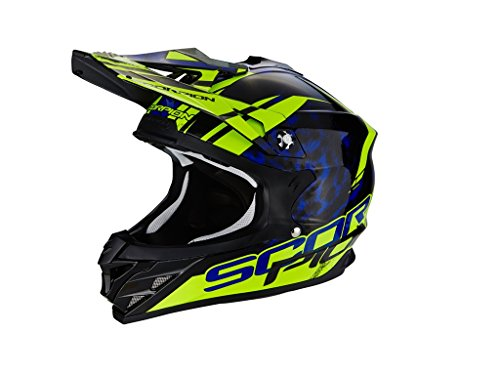 SCORPION CASQUE Cross VX-15 EVO AIR KISTUNE - XL - Noir/Bleu/Jaune -
