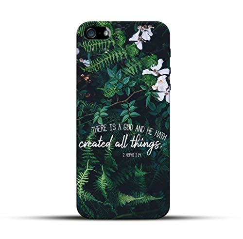 Pikkme God Jesus Bible Verse Quotes - Created All Things - Green Leaves Floral Background Designer Printed Hard Back Case and Cover for Apple iPhone 5 / 5s / Se