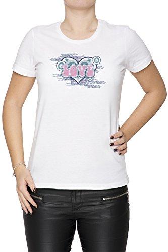 Love Pink Donna T-shirt Bianco Cotone Girocollo Maniche Corte White