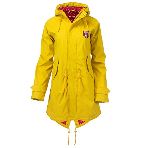 "Derbe Damen Jacke ""Travel Friese Anchor"" Regenjacke yellow red (gelb rot) (38)"