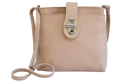 AMBRA Moda Damen echt Ledertasche Handtasche Schultertasche Umhängtasche Citybag Girl Crossover GL007 (Altrosa) -