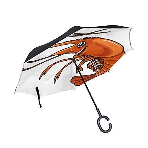 Garnelen Lustige Cartoon Doppelschicht Falten Anti Uv Schutz Winddicht Regen Gerade Autos Golf Reverse Inverted Umbrella Stand Mit C förmigen Griff
