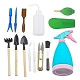 Godagoda Gartenarbeit Werkzeug Set Mini Gartengeräte für Klein Blume Pflanzen 14 PC Blau