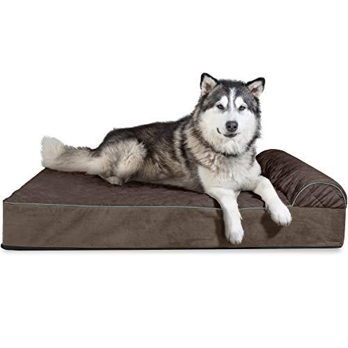 FurHaven Haustierbett für Hunde und Katzen, gesteppt, orthopädisches Goliath-Design, Espresso, 2XL, Chaiselongue, 3XL, Espresso