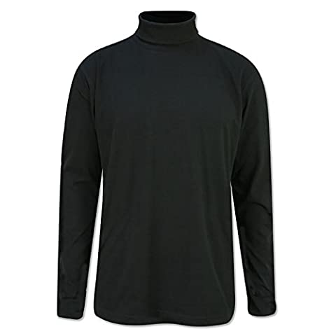 BLACK MENS POLO ROLL NECK TOP HEAVY COTTON S,M,L,XL,XXL,3XL 4XL (M)