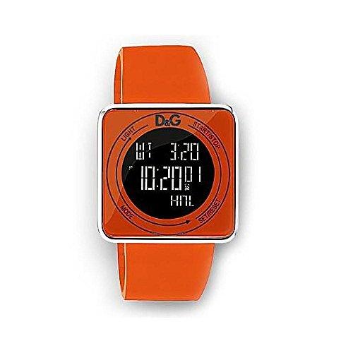 D & G DW0738–Uhr für Herren mit Kautschuk-Armband, Orange/Grau