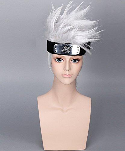 aukmla Perücke Naruto Hatake Kakashi Cosplay Perücke kurz silber weiß gerade Haar (Silber Hippie Kit)
