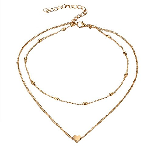 Lovinda Girl Frauen Goldene Silber Überzogene Halskette Schlüsselbeinkette Anhänger Herz Diamant Zirkon Halskette Anhänger Billig Schmuck für Freundin Frauen Dame Geburtstagsgeschenk
