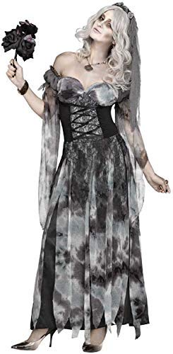 Fancy Me Damen Sexy Friedhof Corpse Bride Untoter Zombie Halloween Horror Kostüm Kleid Outfit - Schwarz, UK 10-12