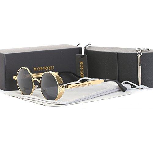 Ronsou Steampunk Stil Rund Vintage Polarisiert Sonnenbrillen Retro Brillen UV400 Schutz Metall Rahmen gold rahmen/grau linse