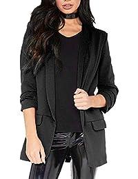 0a5d1bd2a25 Luckycat Moda para Mujer Estilo OL Blazer de Manga Larga Elegante Traje  Delgado Escudo Casual