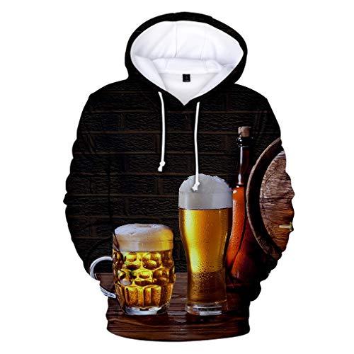 Realde Herren Kapuzenpullover 3D Druck Hoodie Langarm Sweatshirt Kapuzenjacke Mit Taschen Bierdruck Bierfest Halloween-Xmas Weihnachten-Frauen-Männer-Couple-Punk (10 Halloween-film Top)