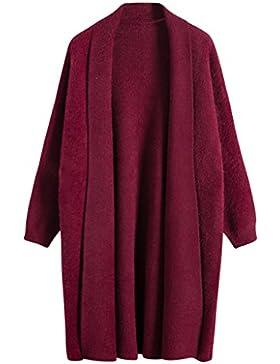 Vogueearth Fashion Mujer's Largo Manga Loose Knit Jersey Sudaderas Suéter Largo Abrigo Chaqueta Cardigan Thick
