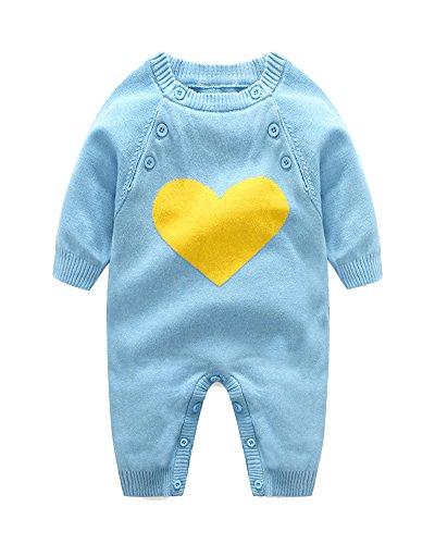 Neugeborenes Baby Mädchen Junge Strick Strampler Herz Muster Lange Ärmel Warme Pullover Hellblau 80